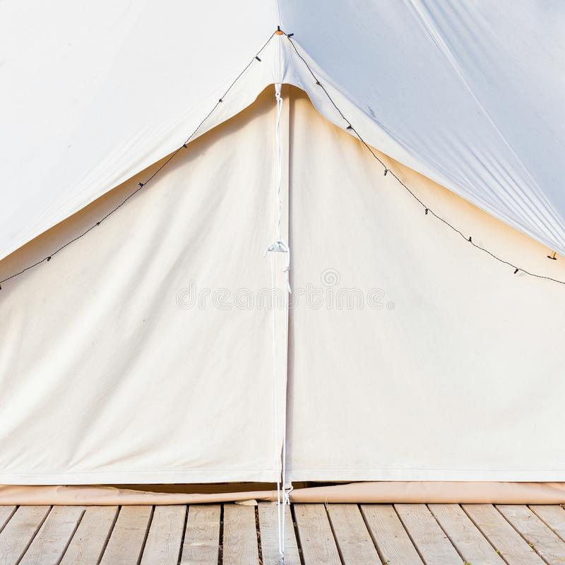 Close-up of glamping bell tent. Front view royalty free stock photography