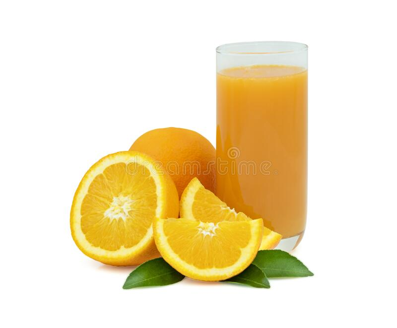Close-up of Glass squeezed orange juice and fresh fruits ripe cut half with green leaves Fruit organic from natural food vegetari. An for healthy isolated on stock image