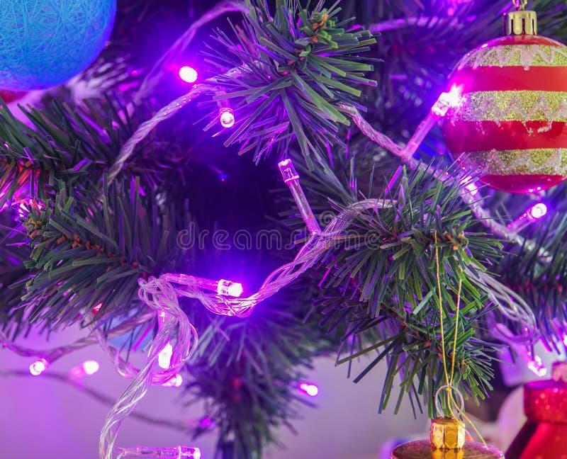Glitter and sparkle purple light bulbs on decorative Christmas tree royalty free stock photos