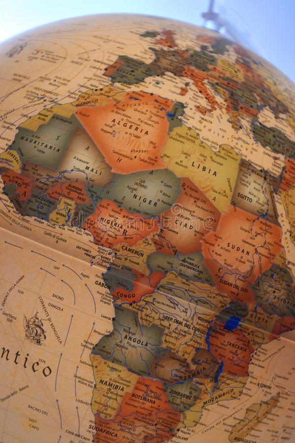 Close up on a globe or map of the world. royalty free stock photos