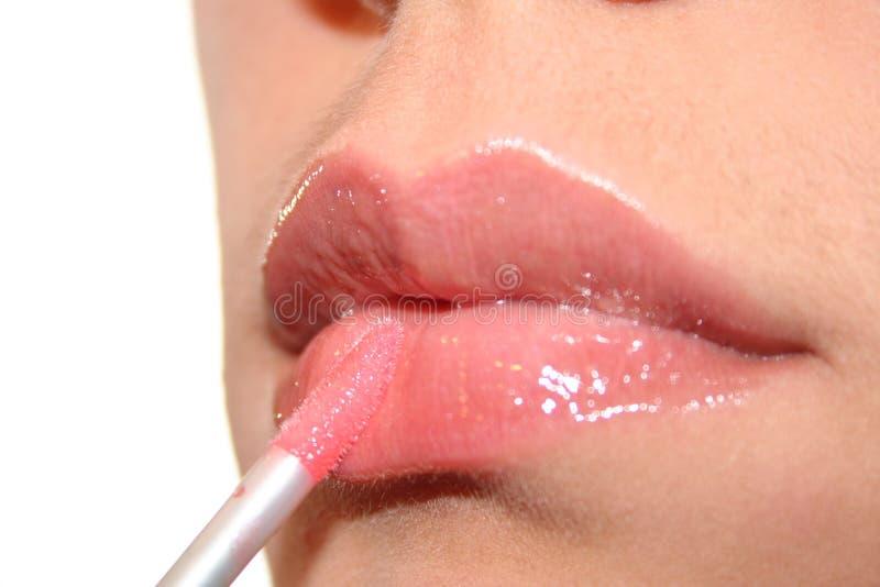 Close-up gloss lips royalty free stock photography