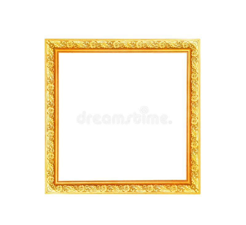 Gold flower with leaf in printed convex patterns around picture frame isolated on white background stock photography