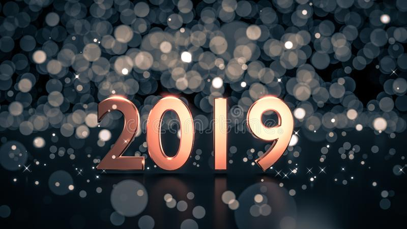 Close up of gold number 2019 on reflective black ground. Close up of gold number 2019 on reflective black ground with ice blue bokeh background. Happy new year royalty free illustration