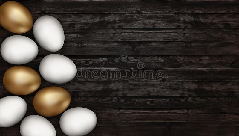 Close up of gold and white easter eggs on wooden background. Rustic dark background. Golden Easter eggs on a wooden table vector illustration