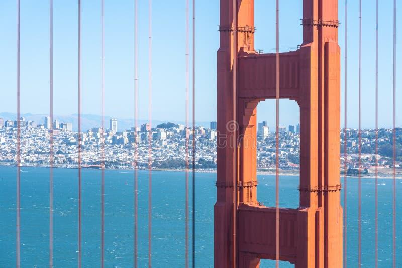 Close up of Golden Gate Bridge with San Francisco skyline stock photo