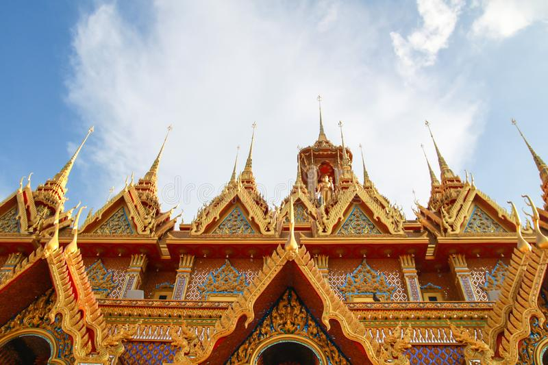 Golden pagoda at Wat Tha Sung in Uthai Thani, Thailand royalty free stock images
