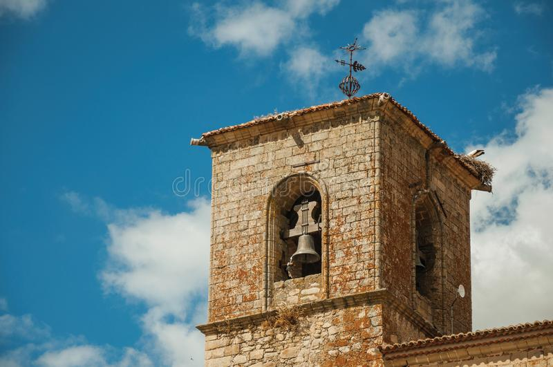 Close-up of the gothic San Martin Church bellow tower at Trujillo stock photos