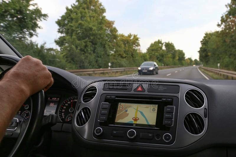 Close-up of gps navigation system In car.  stock photography