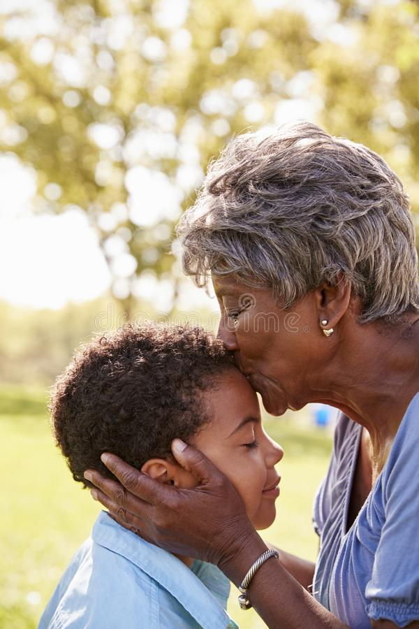 Close Up Of Grandmother Kissing Grandson In Park royalty free stock photography