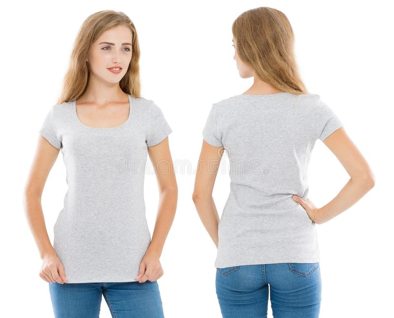 Close up of gray t shirt set. Woman in blank template tshirt with copy space isolated on white background. Front and rear view. stock image