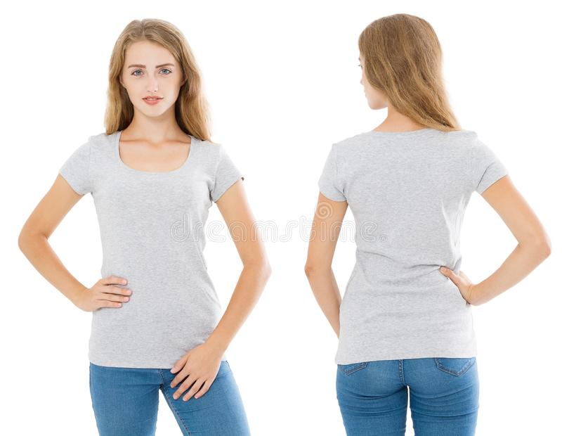 Close up of gray t shirt set. Woman in blank template tshirt with copy space isolated on white background. Front and rear view. royalty free stock image