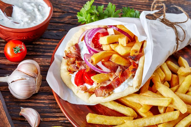 Close-up of greek souvlaki on a table royalty free stock images