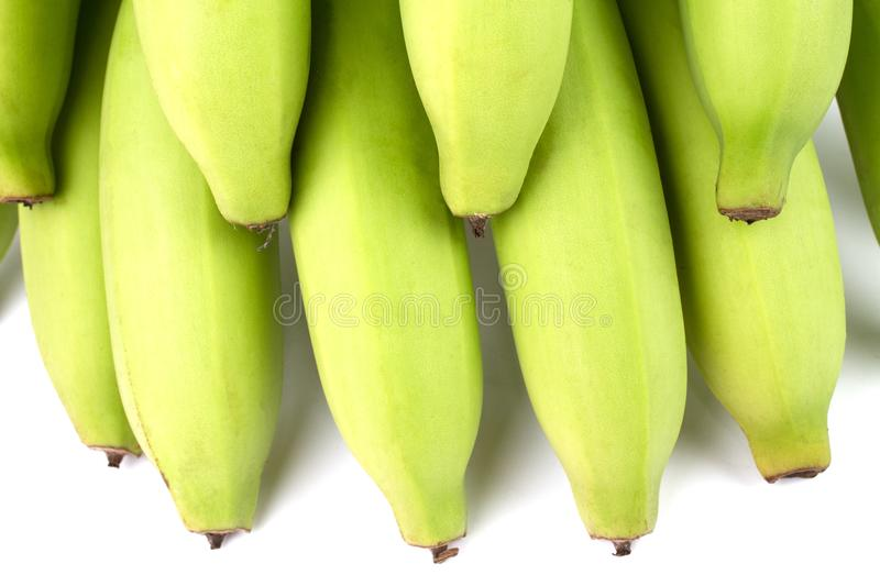 Yellow Green Banana Comp. Close up Green Banana Comp on white background stock images