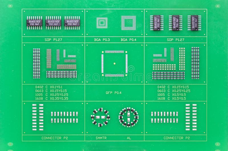 Close up green electronic printed circuit board pcb for computer or equipment stock images