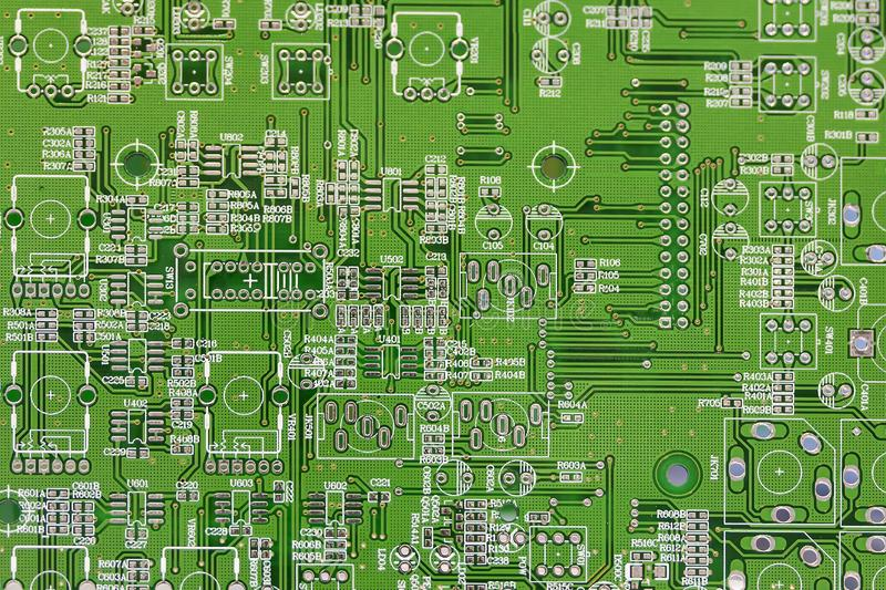 Close up green electronic printed circuit board pcb for computer or equipment royalty free stock photos