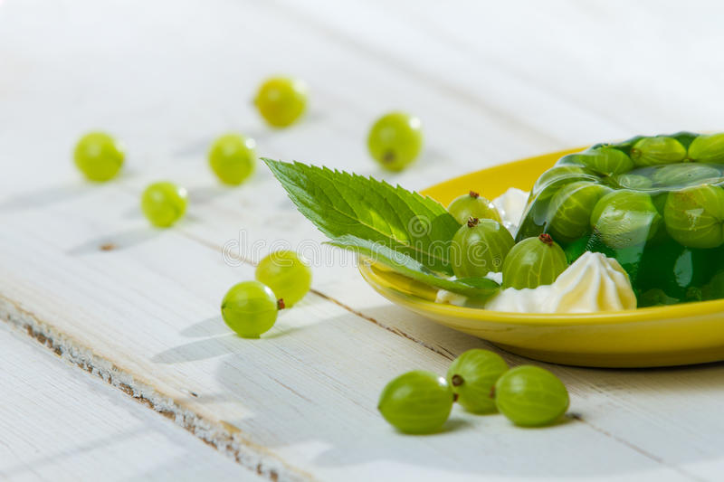Close-up of the green gooseberry jelly royalty free stock photo