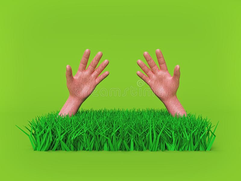 Close up of green grass with dirty hands. minimal nature concept. 3d rendering vector illustration