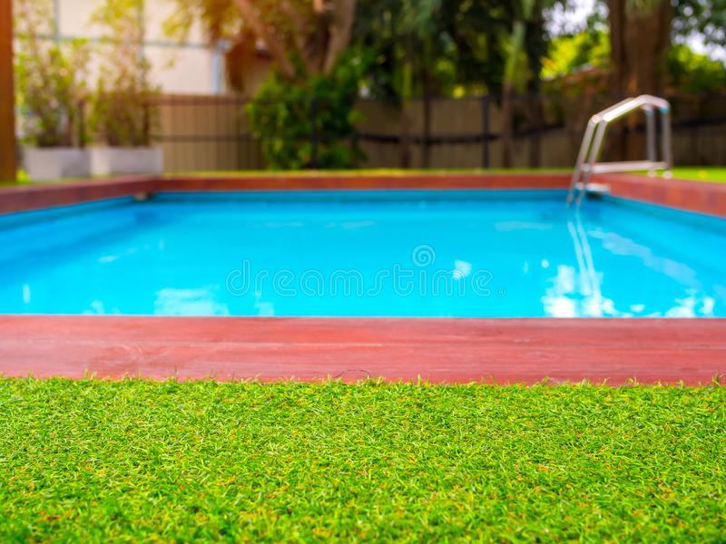 Close-up green grass on outdoor swimming pool background. Close-up green grass on blurred outdoor swimming pool background with copy space stock photography
