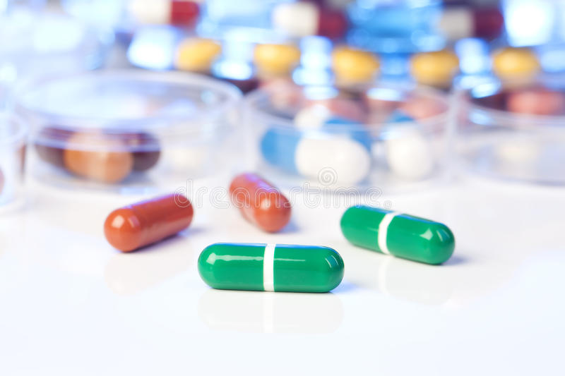 Close up of green Pills, stock photo