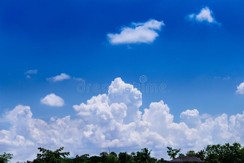 Green tree top with roof of home over on  beautiful blue sky and big clouds group for background royalty free stock photography