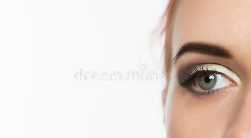 Close-up grey eye with professional makeup looking at the side, on a white background. free space for text stock images