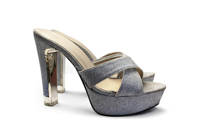 Close up of grey high heels isolated on white background. Object with clipping path royalty free stock photo