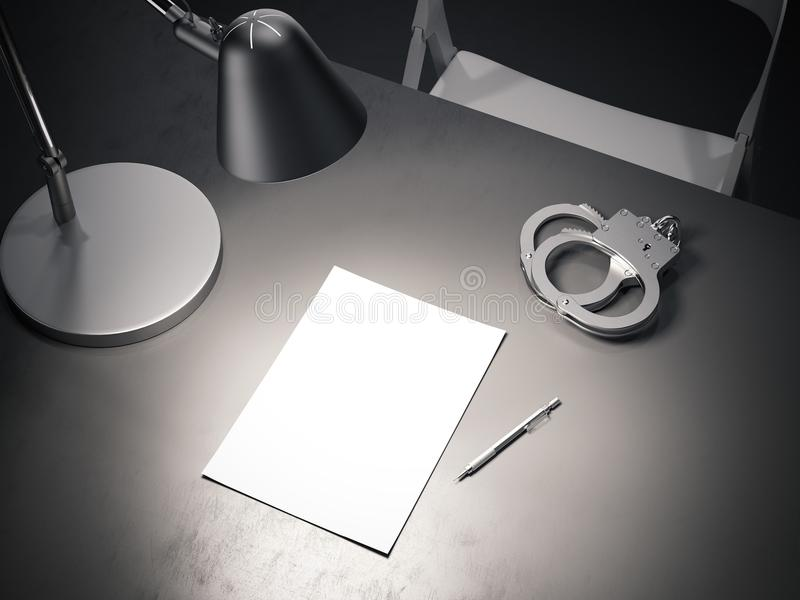 Grey table with switched-on lamp, handcuffs and paper sheet, 3d rendering. Close up of grey table with switched-on lamp, handcuffs and paper sheet above in dark royalty free stock photography