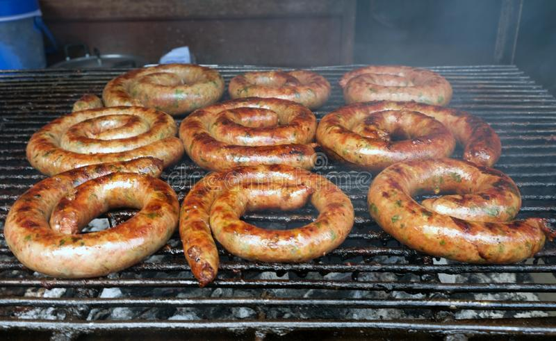 Close up of grill northern Thai sausage. stock photos