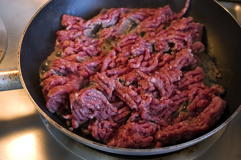 Close up on Ground Beef on a Pan stock photo