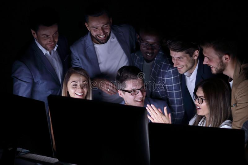 Close up.a group of employees discussing business news stock image