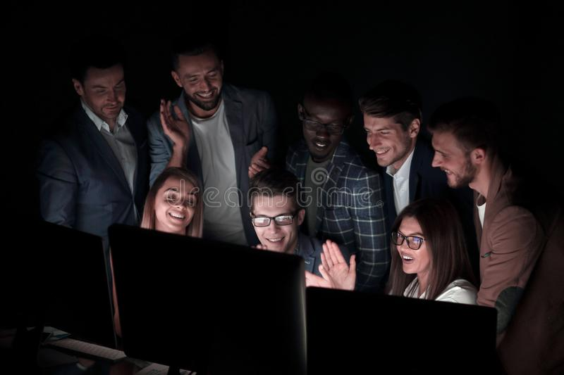 Close up.a group of employees discussing business news stock photos