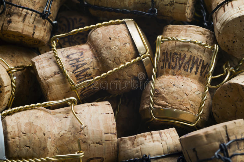 Champagne corks. Close-up of group of high-quality Champagne corks stock photos