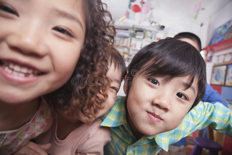 Close Up of a Group of Kids stock photography