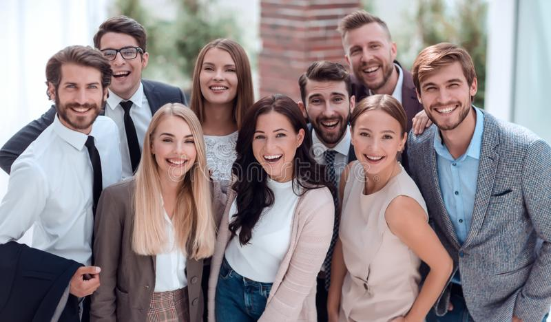 Close up. a group of professional corporate employees. royalty free stock image