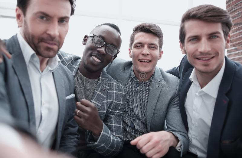 Close up.group of professional young employees stock image
