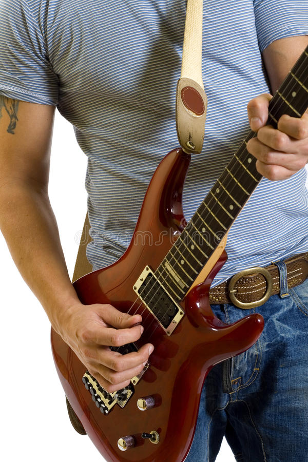 Close-up of a guitarist stock images
