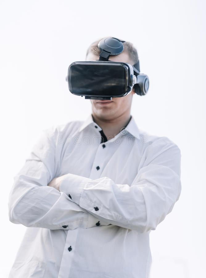 Close up.the guy in the virtual reality glasses royalty free stock images