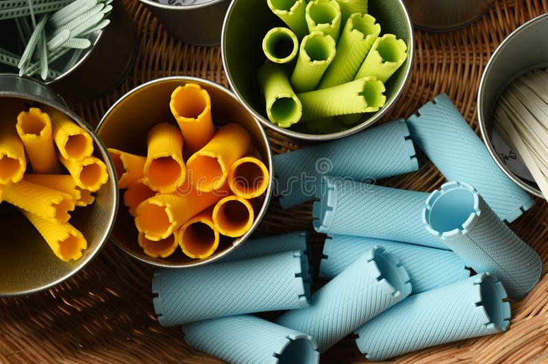 Close up of hair curlers royalty free stock photography