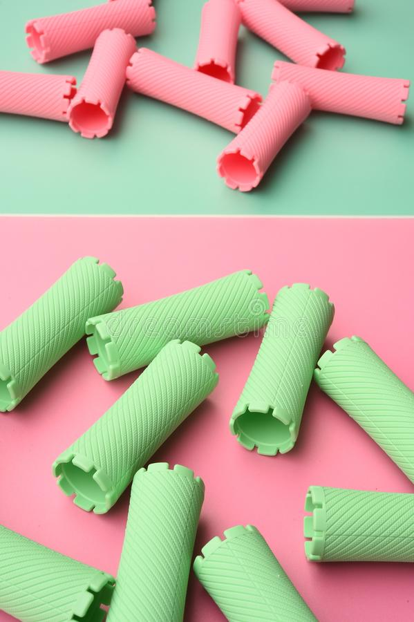 Close up of hair curlers stock photography