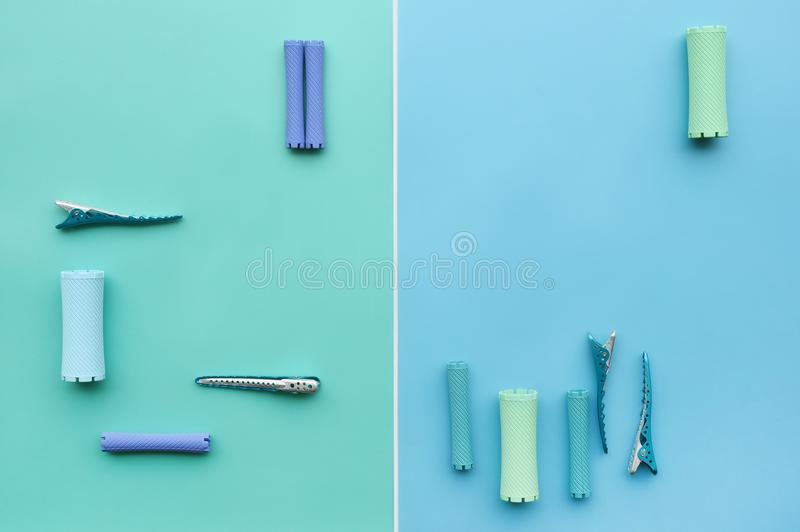 Close up of hair curlers royalty free stock photo