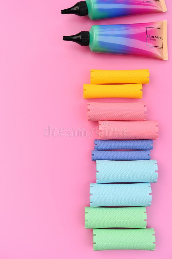 Close up of hair curlers stock image