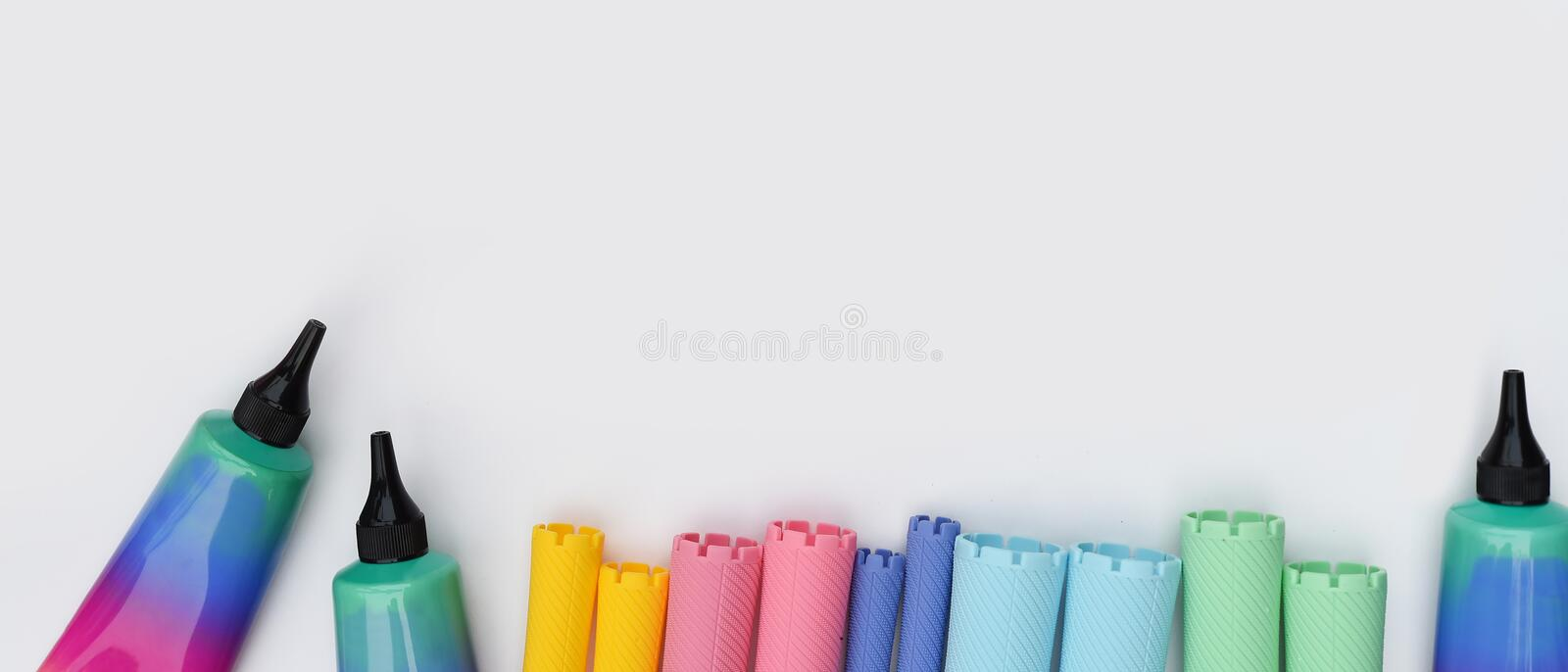 Close up of hair curlers stock images