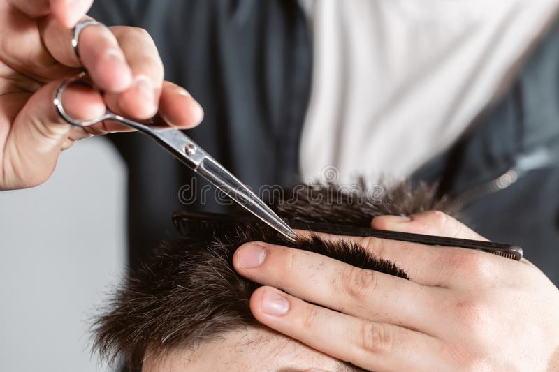 Close-up Hair cutting with metal scissors. Master cuts hair and beard of men in the barbershop, hairdresser makes. Hairstyle for a young man stock photos