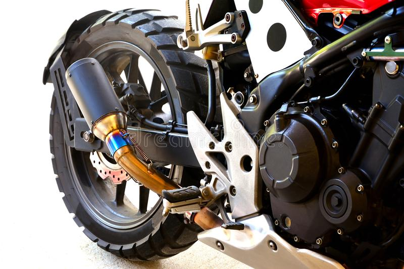Close up of half big bike motorcycle modify on white background royalty free stock photos