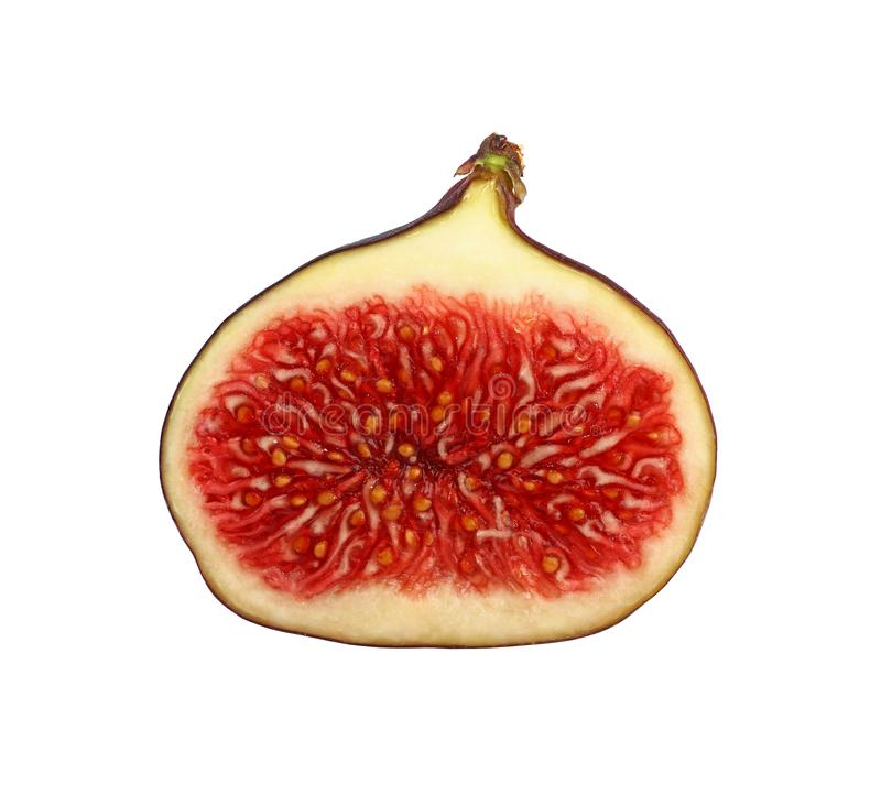 Close up half cut of ripe fig isolated on white royalty free stock images