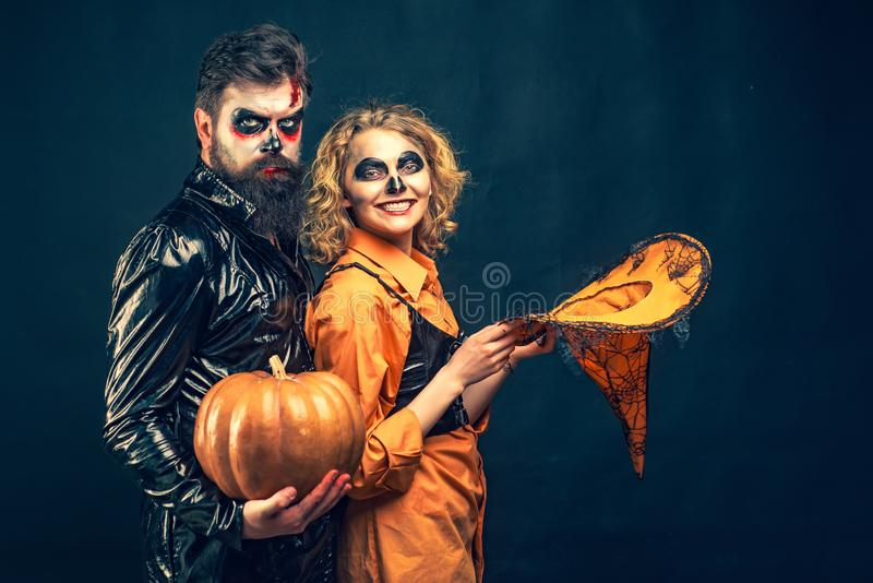 Close up Halloween portrait of funny couple. Best ideas for Halloween. Halloween party and holiday concept. royalty free stock photography