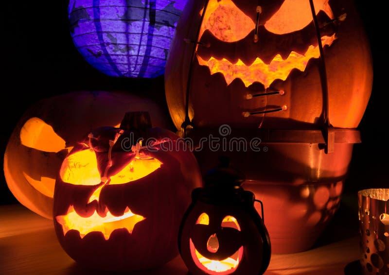 Close up of halloween pumpkins. At night royalty free stock photography