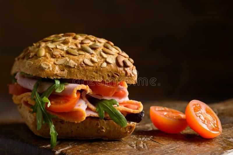 Close Up Ham Salad Roll royalty free stock photos