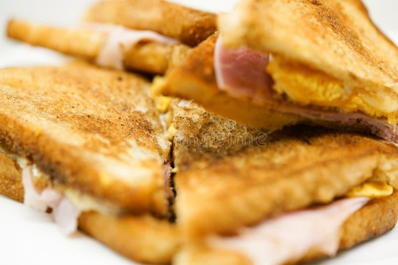 Close up of ham sandwich stock images