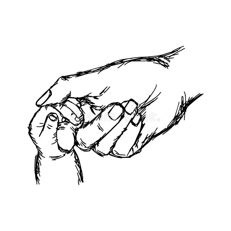 close-up hand of baby and mother holding together vector illustration sketch hand drawn with black lines, isolated on white vector illustration